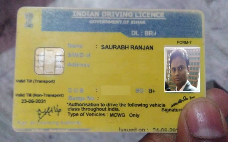 License of driver as per motor vehicle Act 1988